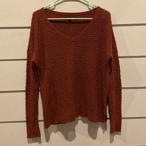 American Eagle Rust V-Neck Knit Sweater Medium